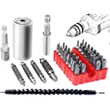 Poonning Universal Socket 7MM-19MM,Damaged Screw Remover Set,Extention Screwdriver Drill Bit Holder with Magnetic Quick Connect Drive Shaft Tip All for Drill Bit