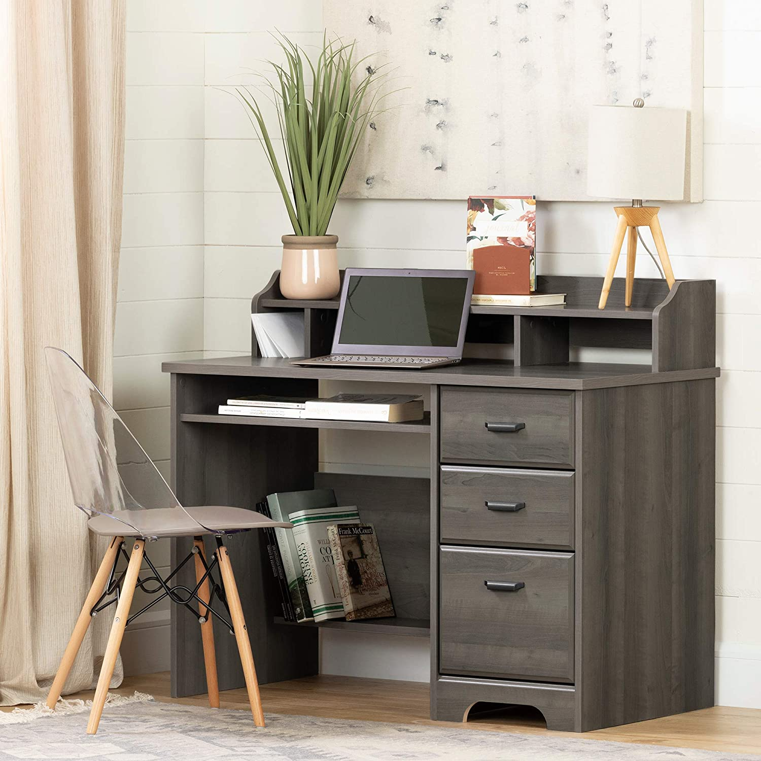 Weathered Oak South Shore Versa Computer Desk with Hutch