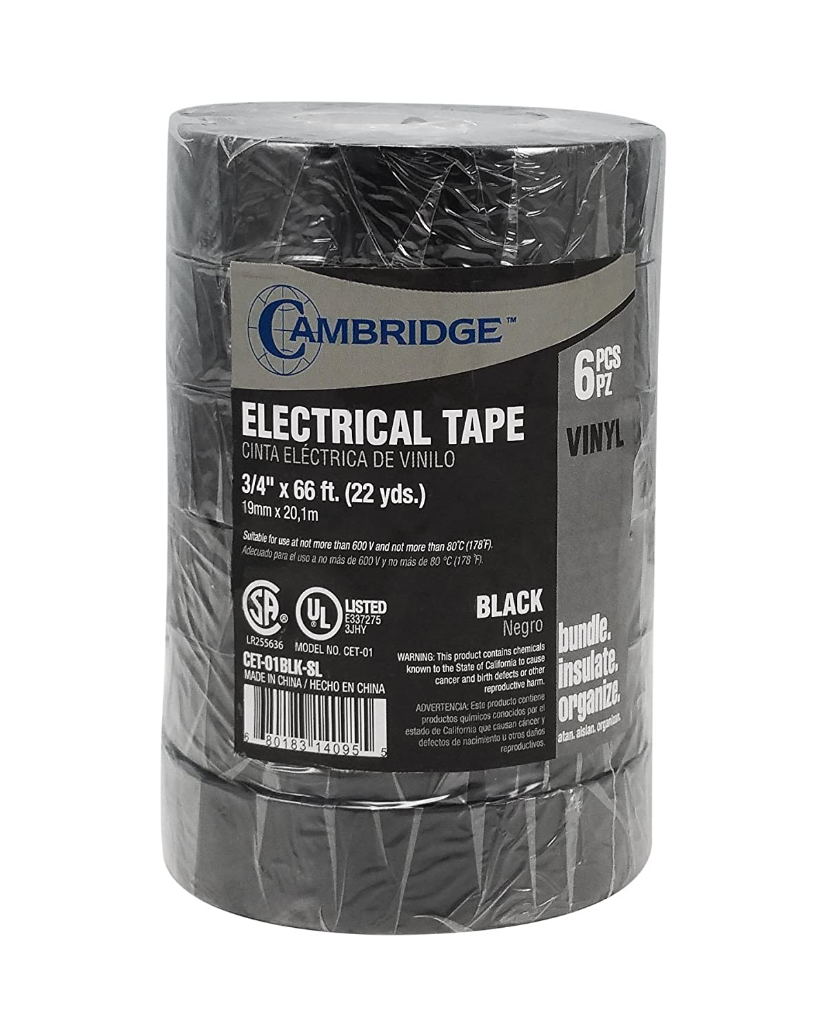 "Cambridge Professional Electrical Tape, Value Pack. Black, 3/4"" x 66'. 6 Rolls totaling 396' (132 Yards)"