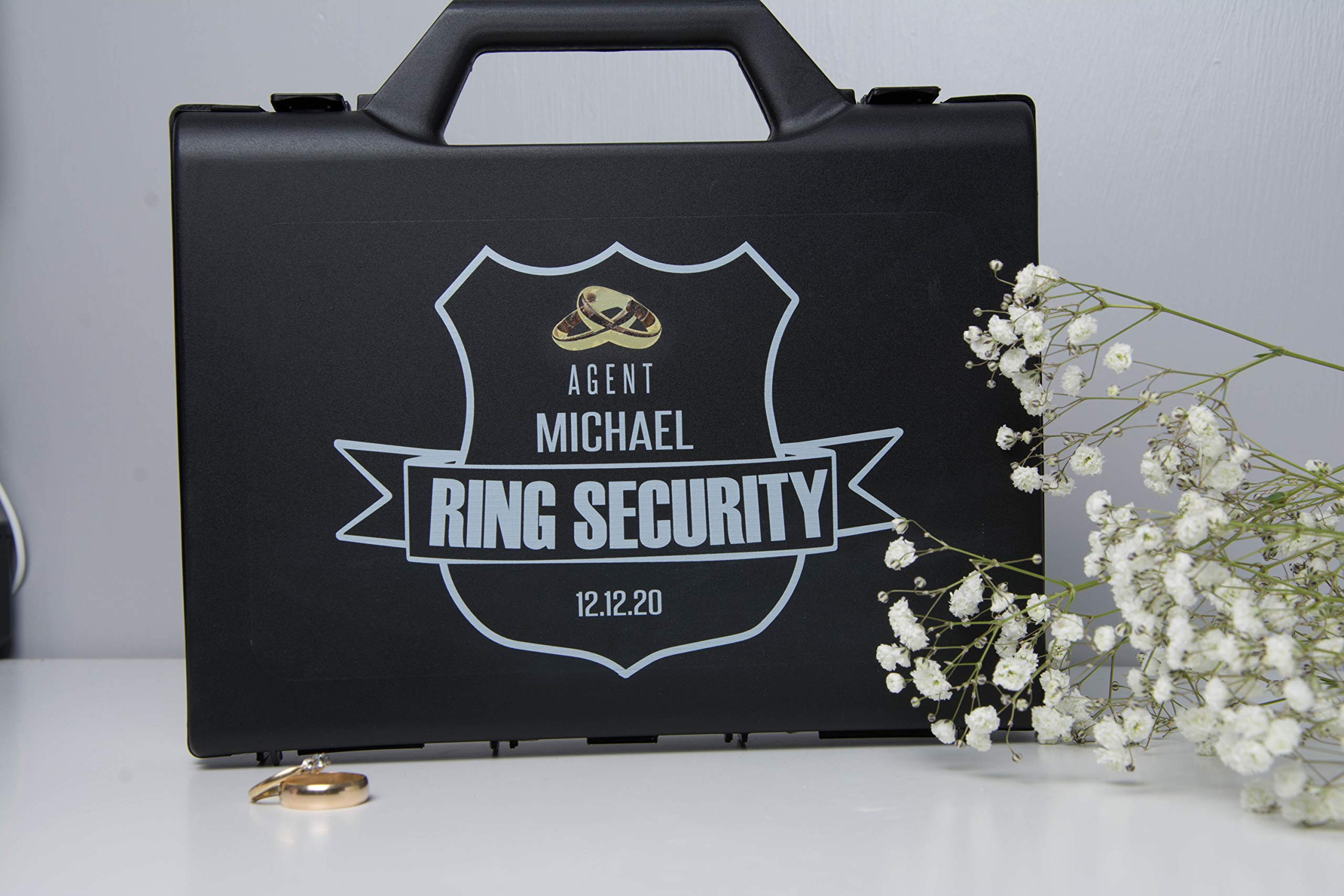 Personalized Ring Security Case - Ring Bearer Case Box - Agent - Wedding - Pillow Alternative by Classy Hen