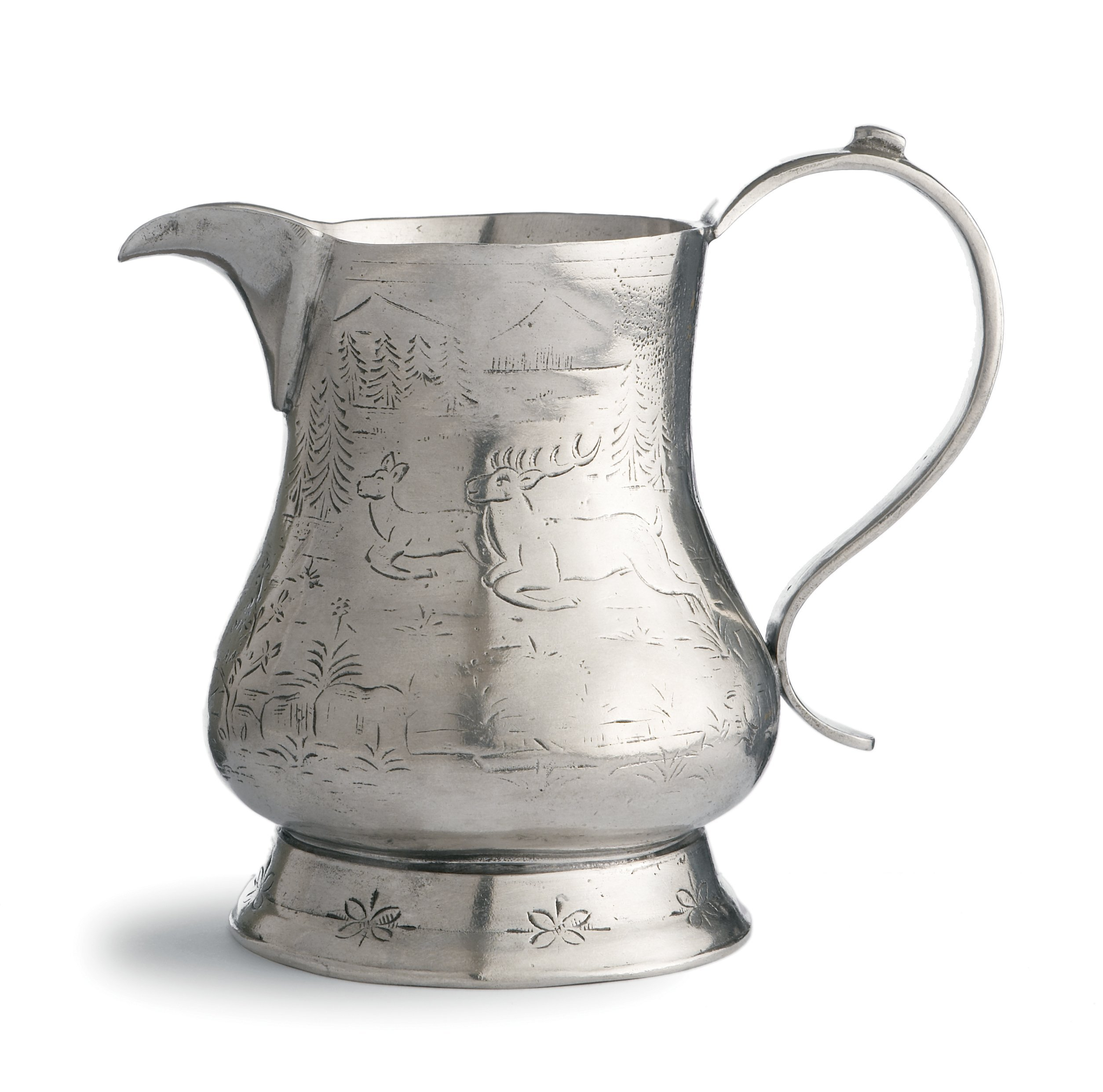 Arte Italica Vintage Pitcher with Deer, Pewter