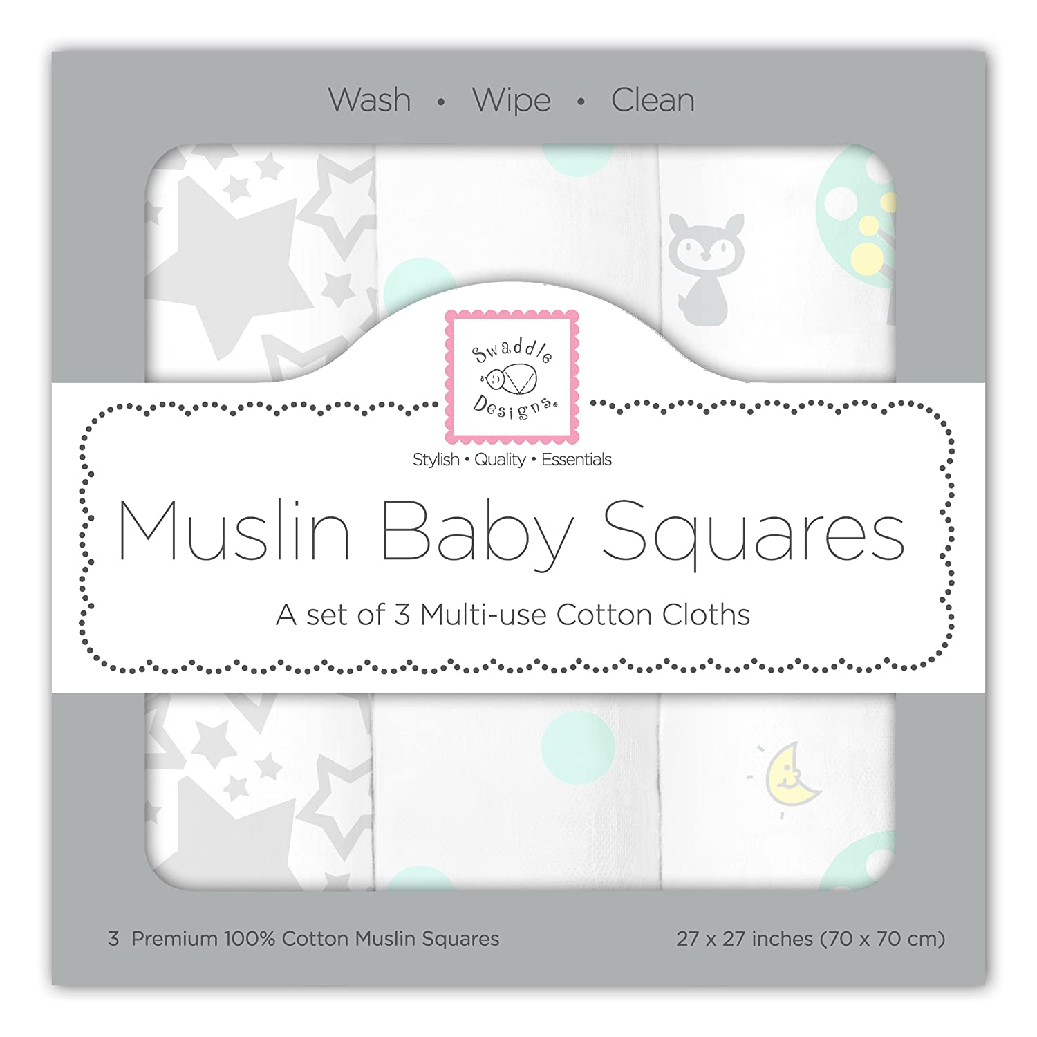 Set of 3 SeaCrystal Woodland Fun SwaddleDesigns Large Cotton Muslin Squares