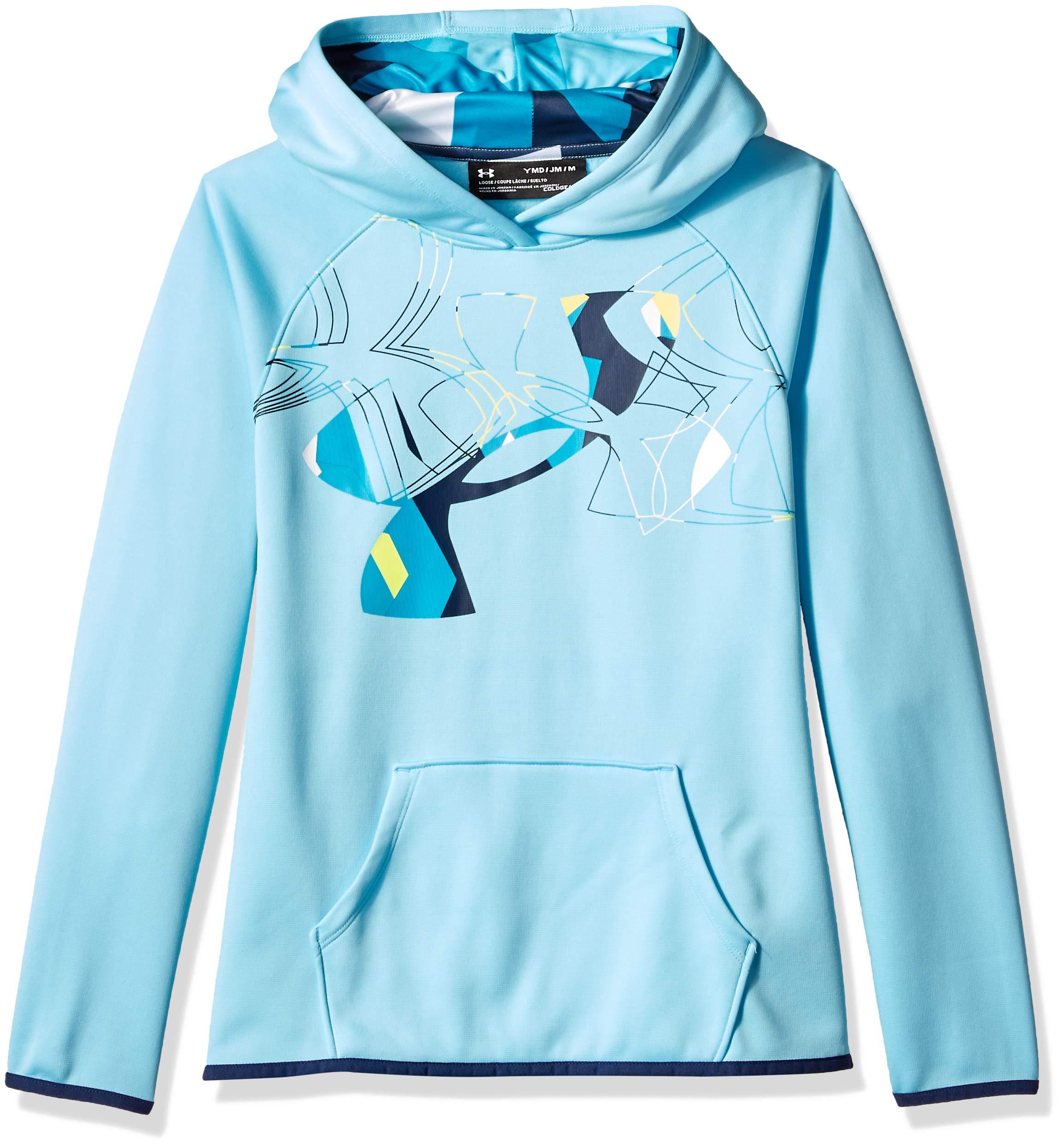 Under Armour Girls Armour Fleece Print Fill Logo Hoodie , Venetian Blue (448)/Academy, Youth X-Small