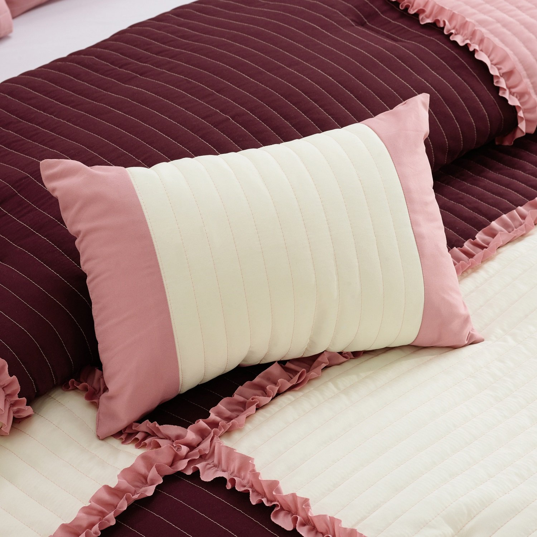 Chezmoi Collection Emiko Rose Pink//Burgundy//Ivory Ruffle Patchwork Comforter Set