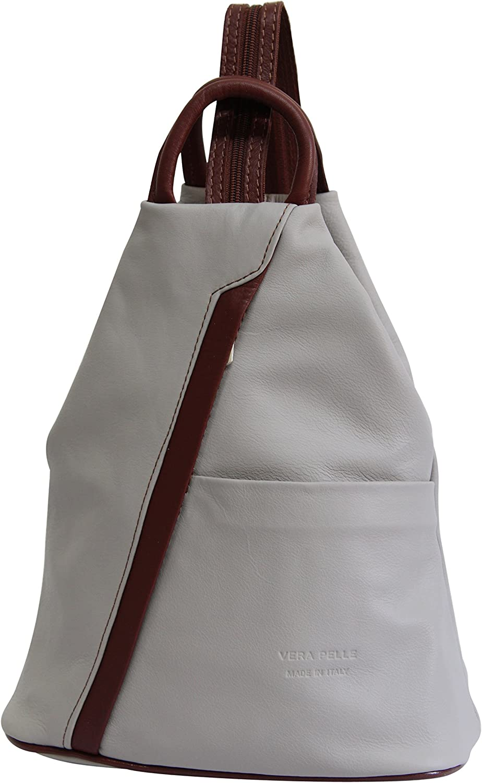 AmbraModa sac /à port/é dos pour femme en cuir v/éritable NL606R sac de ville