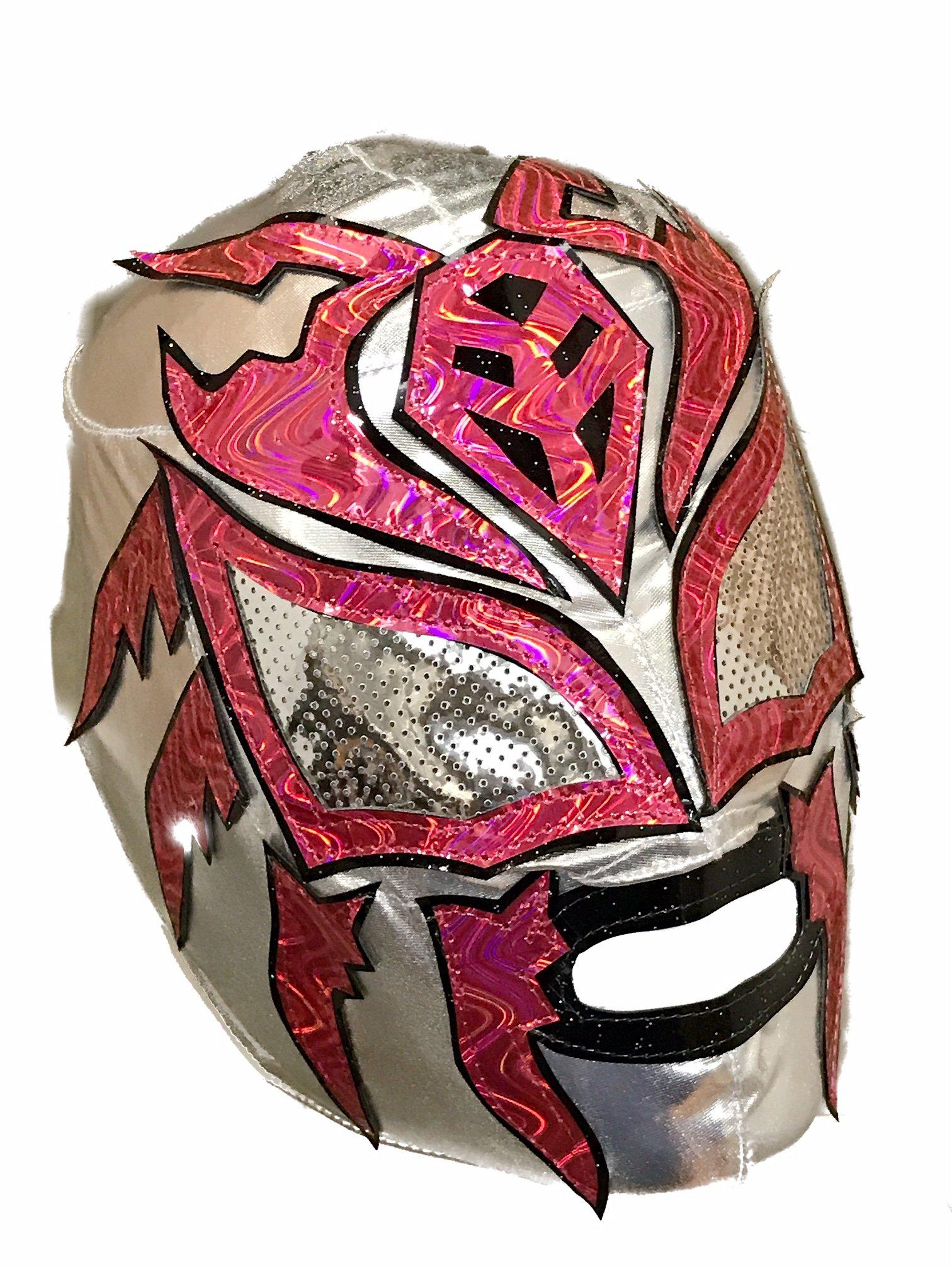 SOMBRA Lycra PRO Adult Lucha Libre Wrestling Mask (pro-LYCRA) Silver/Hot Pink by Mask Maniac