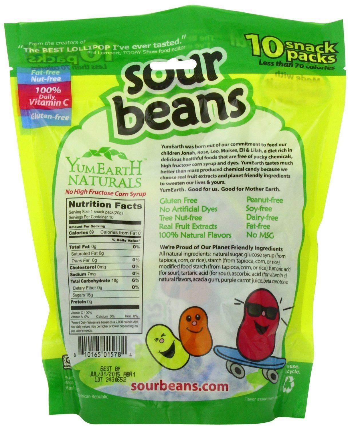 YumEarth Naturals Sour Jelly Beans 10 Snack Packs, 20 g Each (2 Pack)
