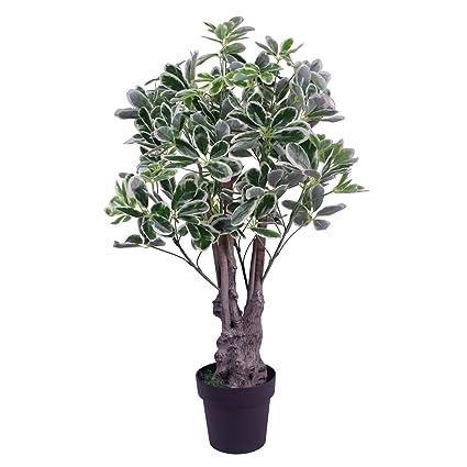 Leaf 100cm Paraguas Artificial Ficus Planta De Interior - Extra Grande - Negro En Crisol Plástico