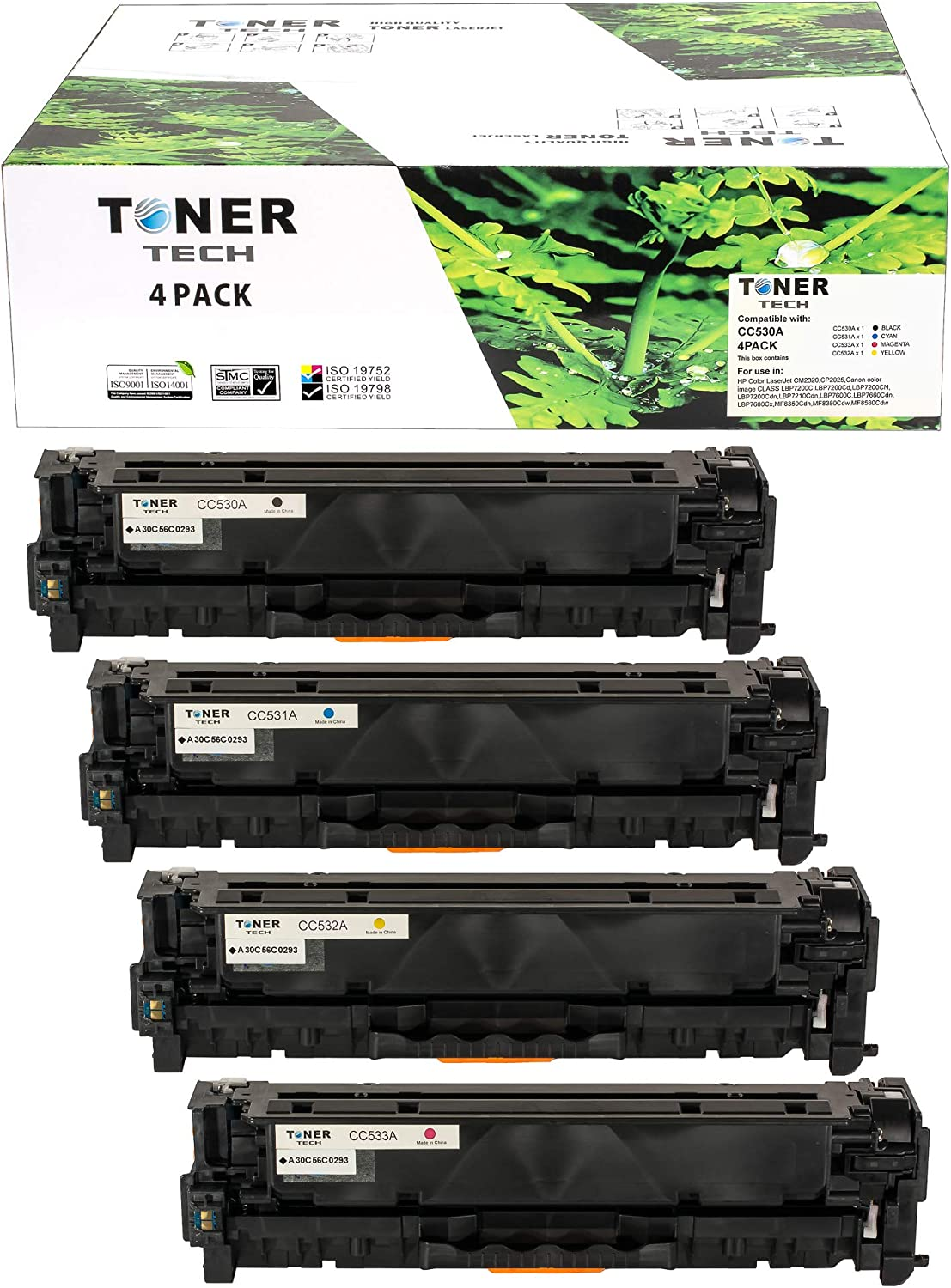 Toner Tech Remanufactured Set Replacement for CC530A CC531A CC532A CC533A HP 304A (CE410A CF380X-D Canon 118) X for Laserjet Printers CM2320 CP2026 CM2320NF CP2025 CP2025X CP2020 CM2320NF