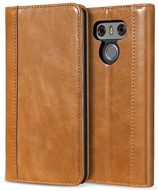reputable site 90c4e e6d25 ProCase LG G6 Genuine Leather Case, Vintage Wallet Folding Flip Case with  Kickstand and Multiple Card Slots Magnetic Closure Protective Cover for LG  ...