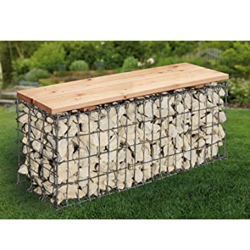 Amazon De Bellissa Gartenbank Gabione L100xb30xh46 Cm Sitzflache Holz