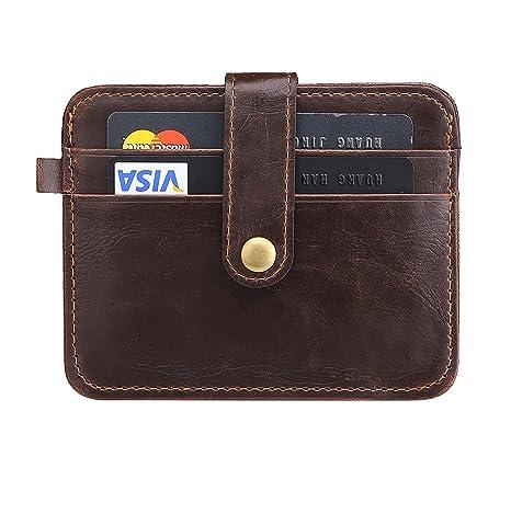 f0668e61ca URAQT Portafogli da Uomo in Vera Pelle, Porta Carte di Credito, Coin Borsa /