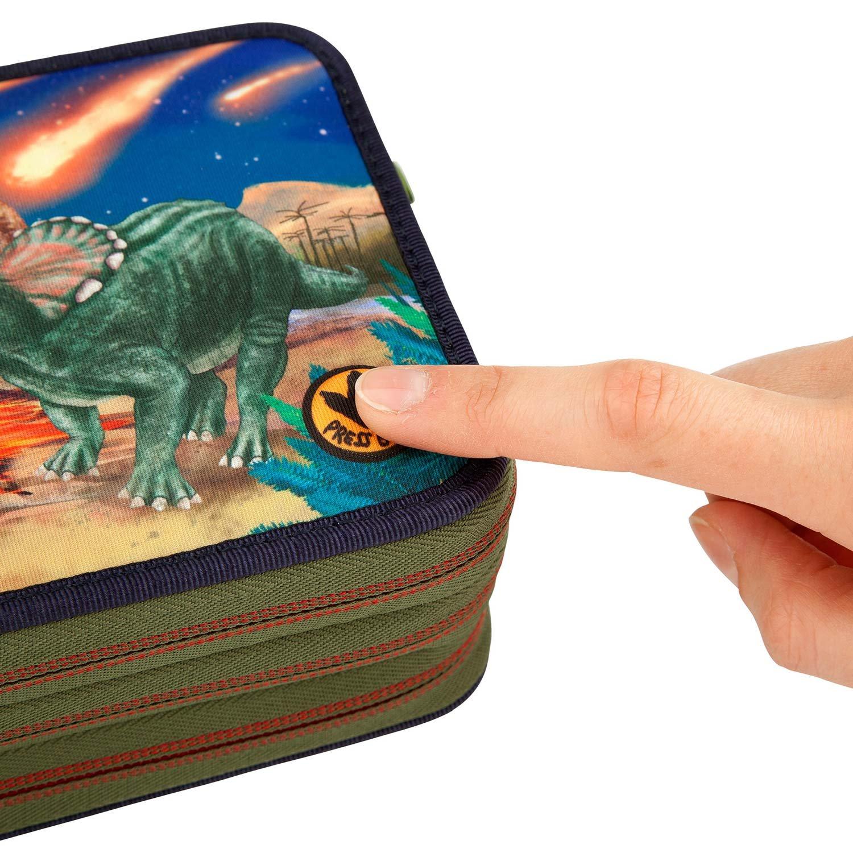 Dino World 3fach Federtasche Triceratops mit Sound Depesche 8582 gefüllt