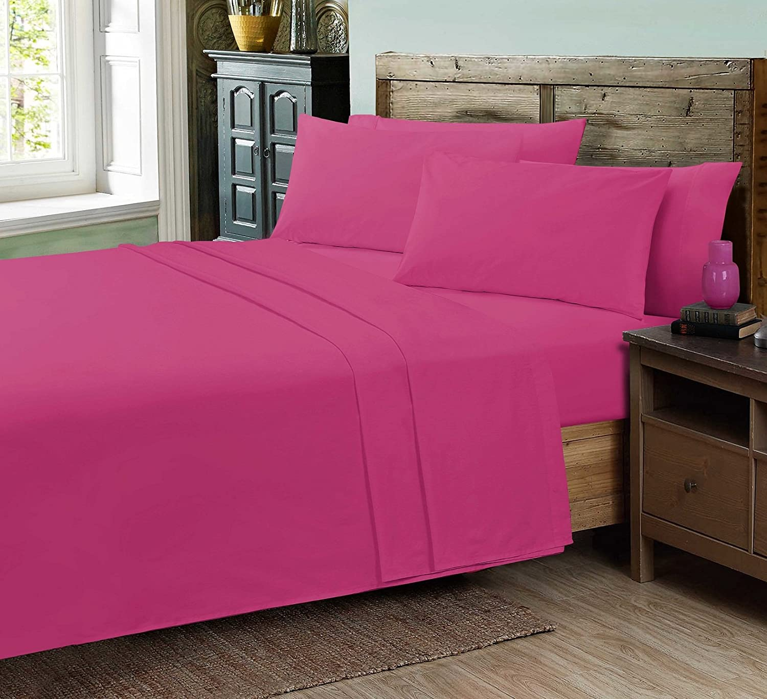 Decent Plain Dyed Flat Bed Sheets White DOUBLE Flat Sheet Poly Cotton Fabric with Optional Pillow Cases And V-Cases 12 Colors UK Sizes