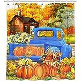 Bonsai Tree Fall Shower Curtain, Waterproof Hello Fall Pumpkins Bathroom Curtains for Girls, Autumn Harvest Farm Truck…