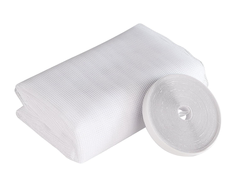 Insektenschutz Fliegengitter Insektenschutzgewebe, individuell kü rzbares Polyestergewebe, feinmaschig, UV-bestä ndig, inkl. Montage-Klettband, Weiß , 150 x 180 cm, Windhager 03478