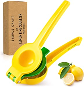 Simple Craft 2-In-1 Lemon Squeezer - Easy To Use Manual Juicer Hand Press - Lemon Juicer & Lime Squeezer Extracts Juices in Seconds