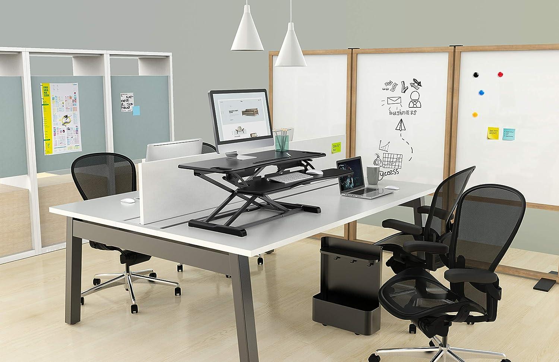 Tabletop Stehpult Konverter PUTORSEN/® Steh-Sitz Schreibtisch Sit-Stand Workstation H/öhenverstellbarer Schreibtisch-Aufsatz Mit Integrierter Gasfeder Schreibtischaufsatz Steharbeitsplatz Standtisch
