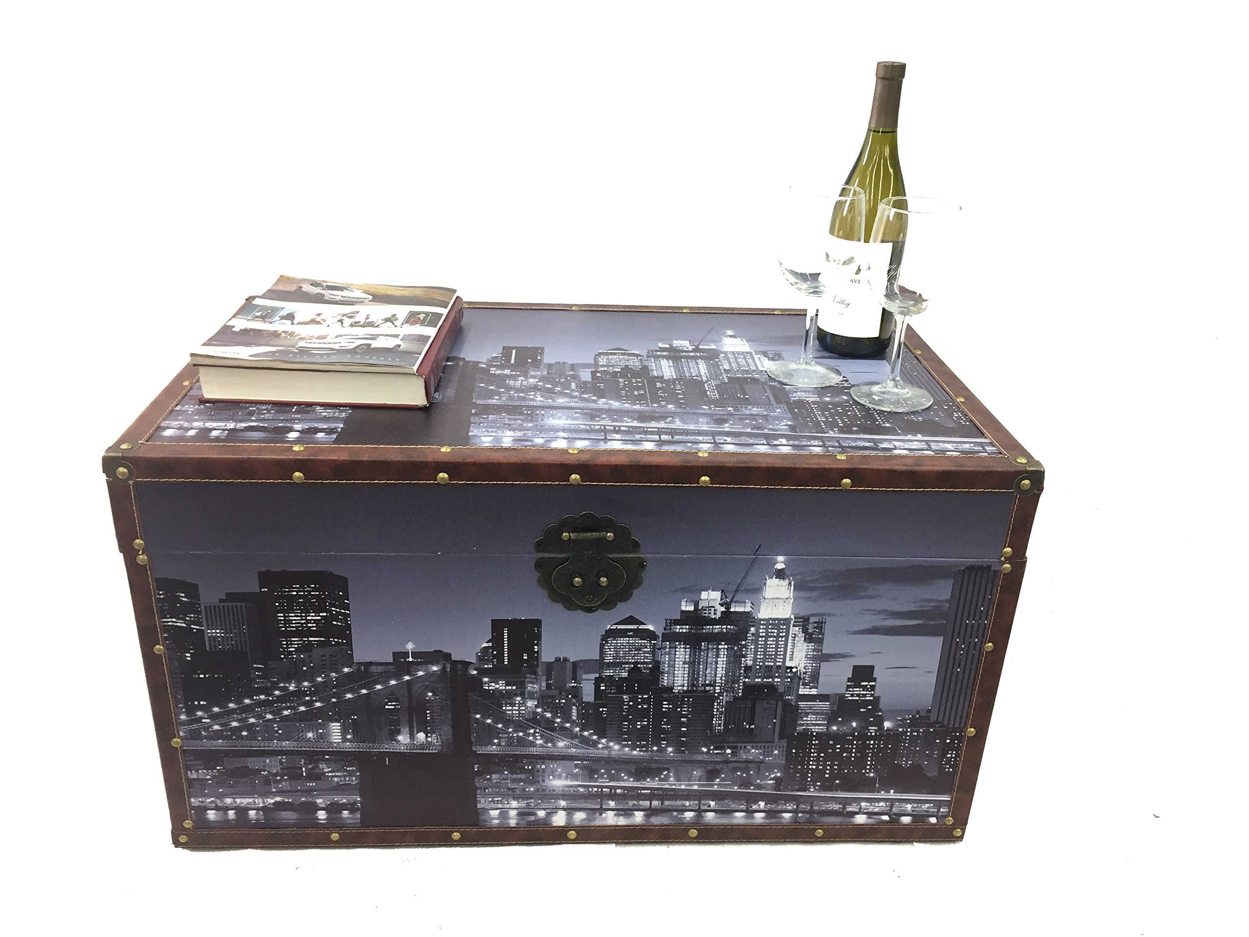 Styled Shopping Metro Night View Steamer Trunk Wood Storage Wooden Treasure Chest - Medium Trunk