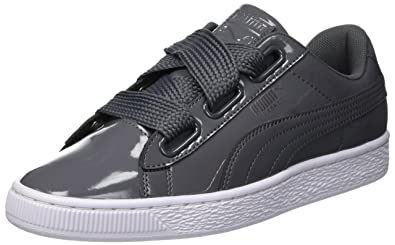 940d9297ffe PUMA Women's Basket Heart Patent WN's Low-Top Sneakers, Iron Gate-Iron Gate
