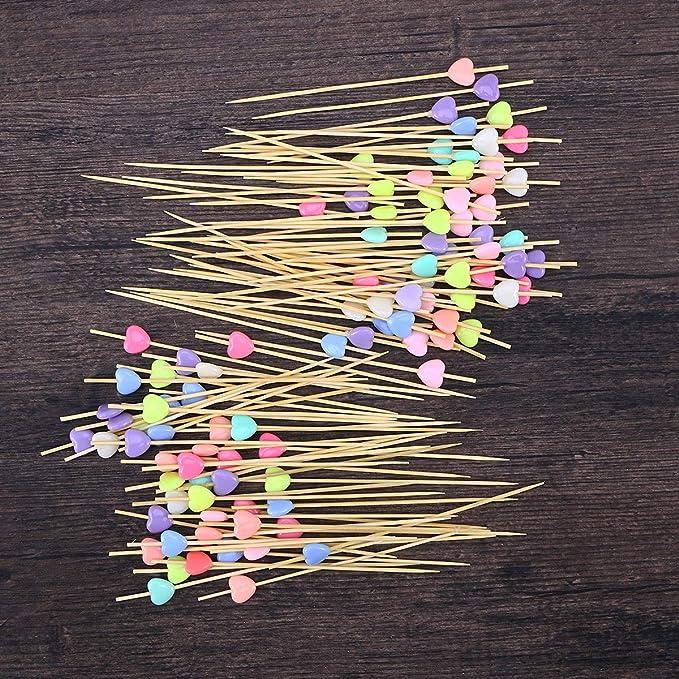 100pcs Fingerfood Spieße aus Holz Holzspieß Partypicker Cocktailspieße Party