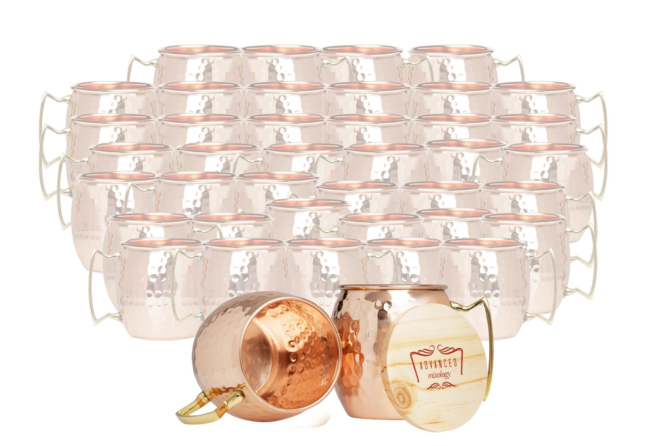 Set of 40 100% Pure Copper Moscow Mule Mugs By Advanced Mixology (16 oz each) with 40 Artisan Hand Crafted Wooden Coasters - Barrel With Brass Handle