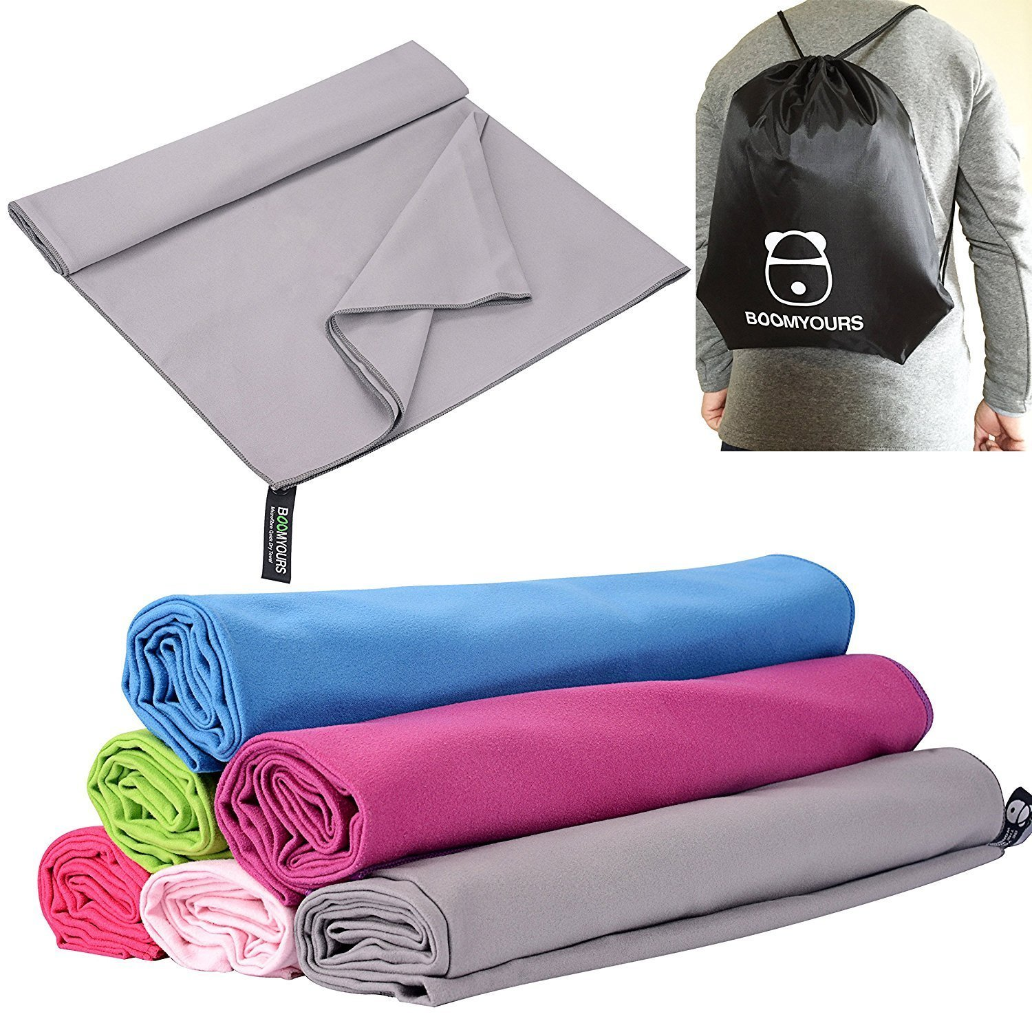 BOOMYOURS Microfibre Quick Dry Towel for Travel,Sports,Gym,Yoga,Swimming,Beach Includes Free Sports Drawstring Bag Large//Lightweight//Highly Absorbent//Compact//Soft Microfibre