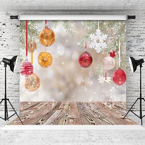 Wolada 8x8ft Vinyl Christmas Balls Photography Backdrops Wood Floor Children Photo Backgrounds Studio Prop 10369