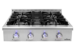 """Thorkitchen HRT3003U 30"""" Pro-Style Gas Rangetop with 4 Sealed Burners, Stainless Steel"""