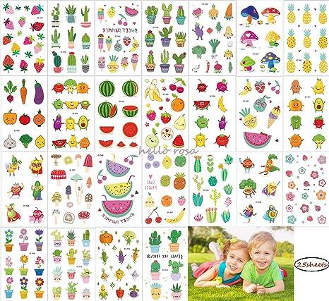 Tatuajes temporales para niñas de niños, 25 hojas Fruto lindo del ...