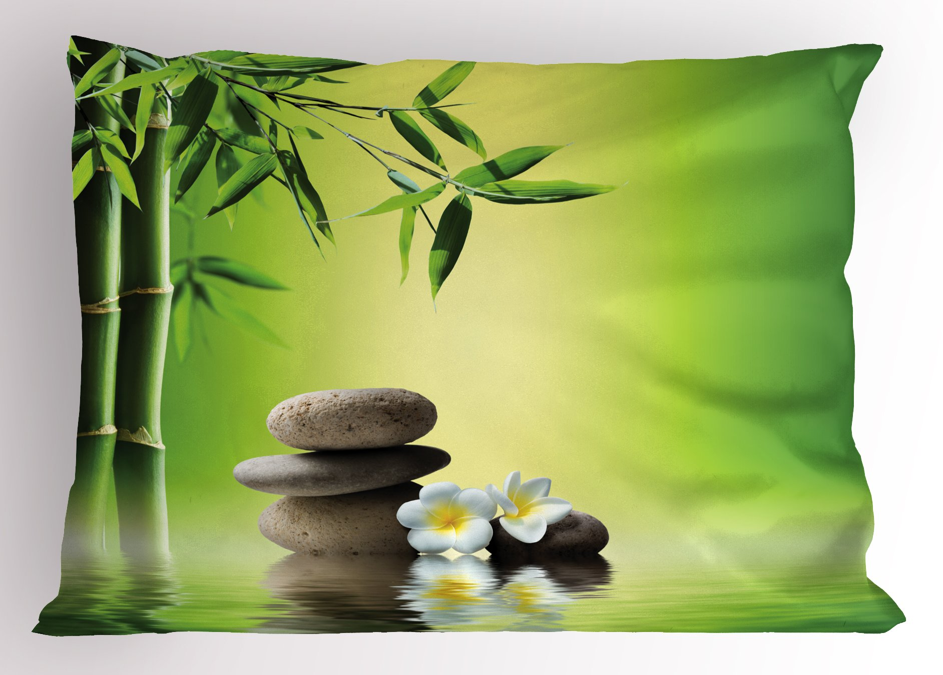 Ambesonne Spa Decor Pillow Sham, Japanese Therapy Relaxation Stones Frangipani Flowers Bamboo Tree Healthcare, Decorative Standard Queen Size Printed Pillowcase, 30 X 20 inches, Green Yellow