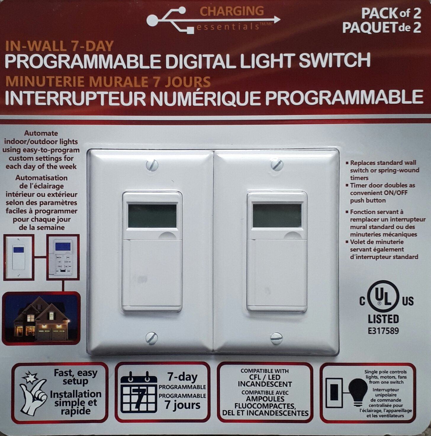 Charging Essentials In Wall 7 Day Programmable Digital Light Switch ...