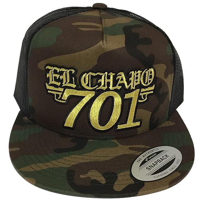 8ca6fb409a0 Image Unavailable. Image not available for. Color  Capsnmore El Chapo  Guzman 701 Hat Black Camo Mesh Snapback