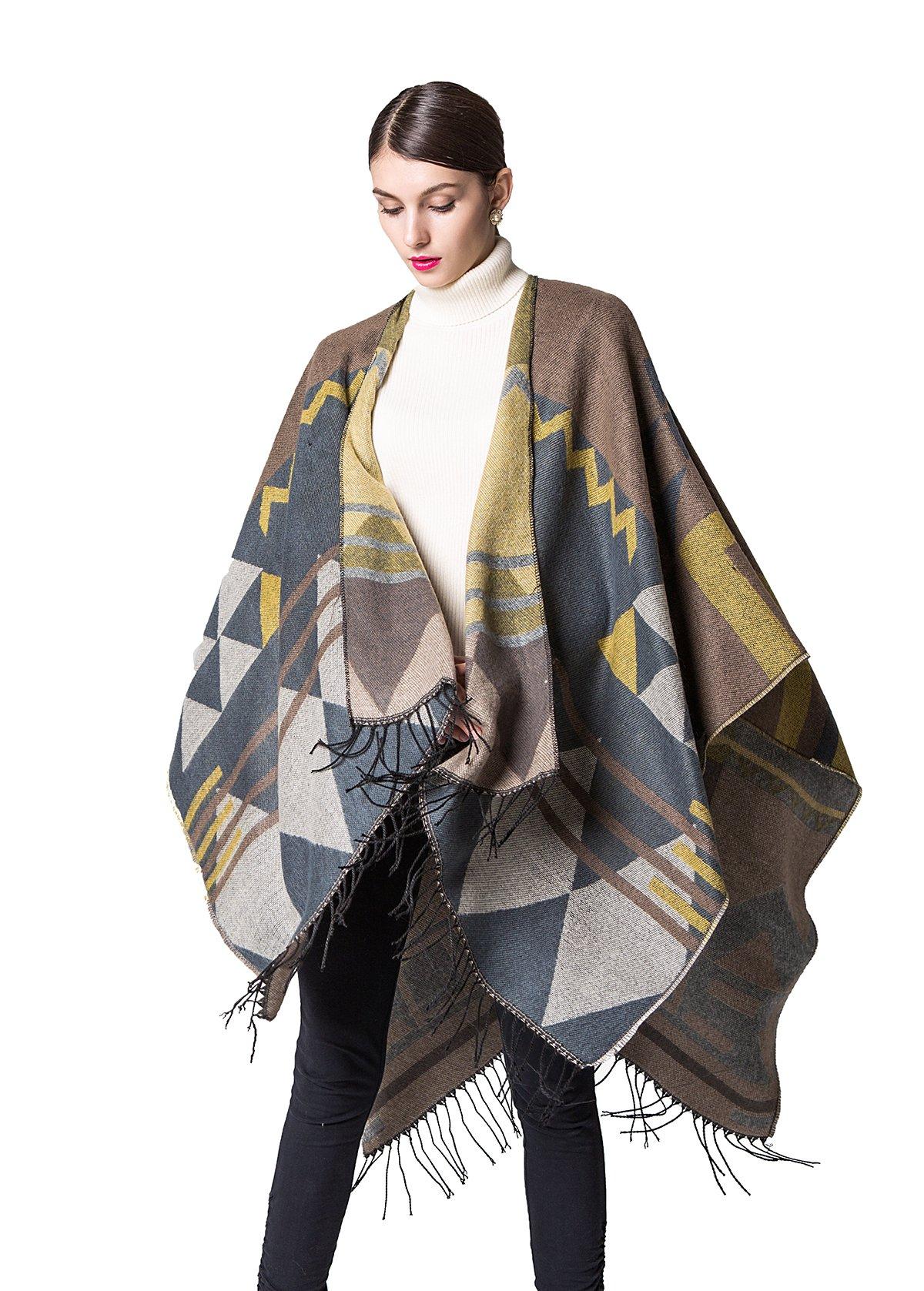 JURUAA Plus Size Knitted Poncho Sweater Shawls Wraps Cape Ruana Coat Yellow