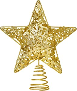 DearHouse 10.7 Inch Gold Christmas Star Tree Topper, Metal Glittered Christmas Tree Topper Star Treetop Decoration for Christmas Tree Home Decor