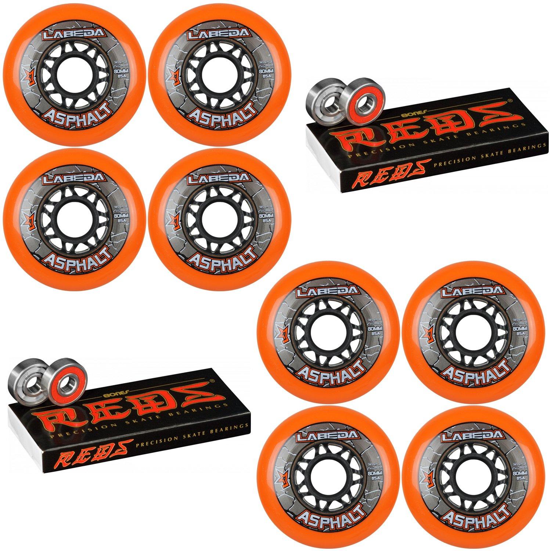 Labeda Asphalt Inline Roller Hockey Wheels 80mm Orange 85A 8-Pack Bones Reds