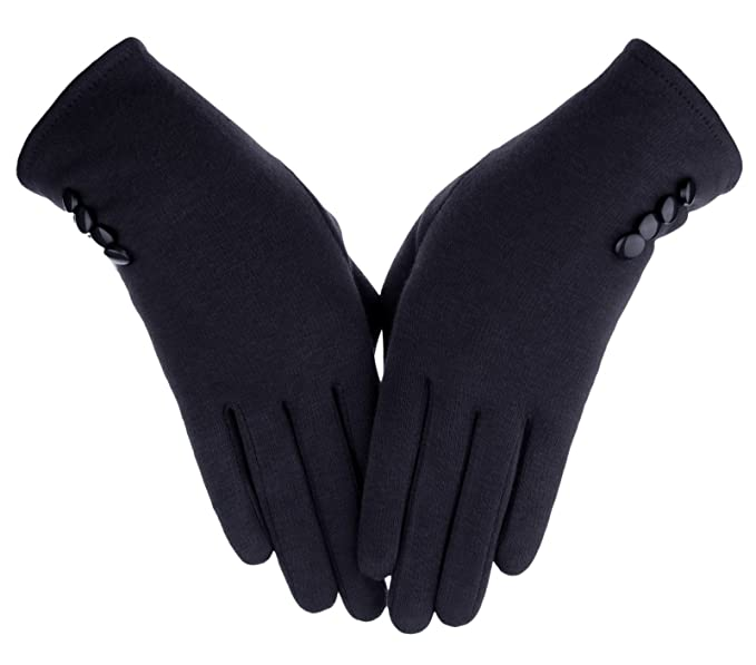 2ef77d4a3 Knolee Women's Button Touch Screen Glove Lined Thick Warmer Winter Gloves ,Black