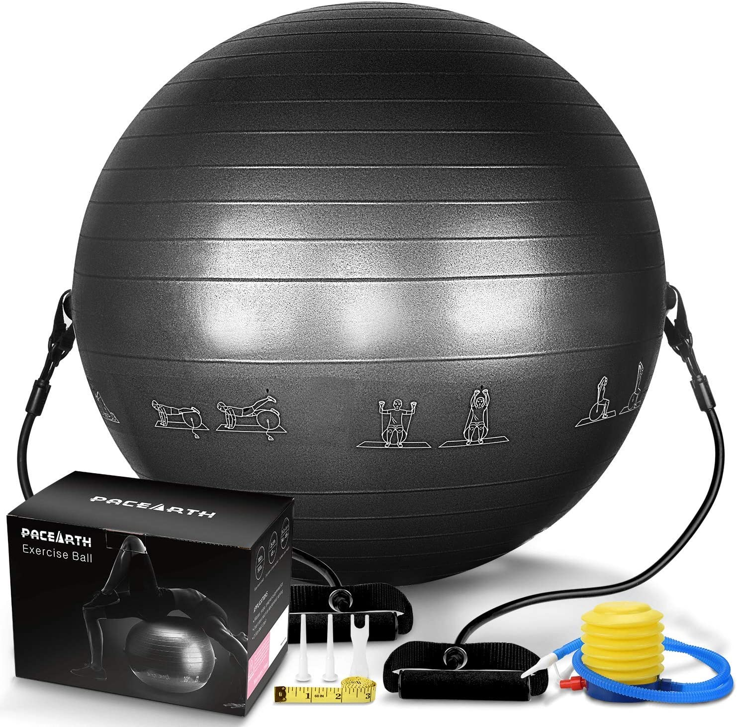 PACEARTH Exercise Ball for Yoga Stability Fitness Balance Birthing Workout Ball Chair with Quick Pump and Resistance Bands for Office,Home,Gym (Black)