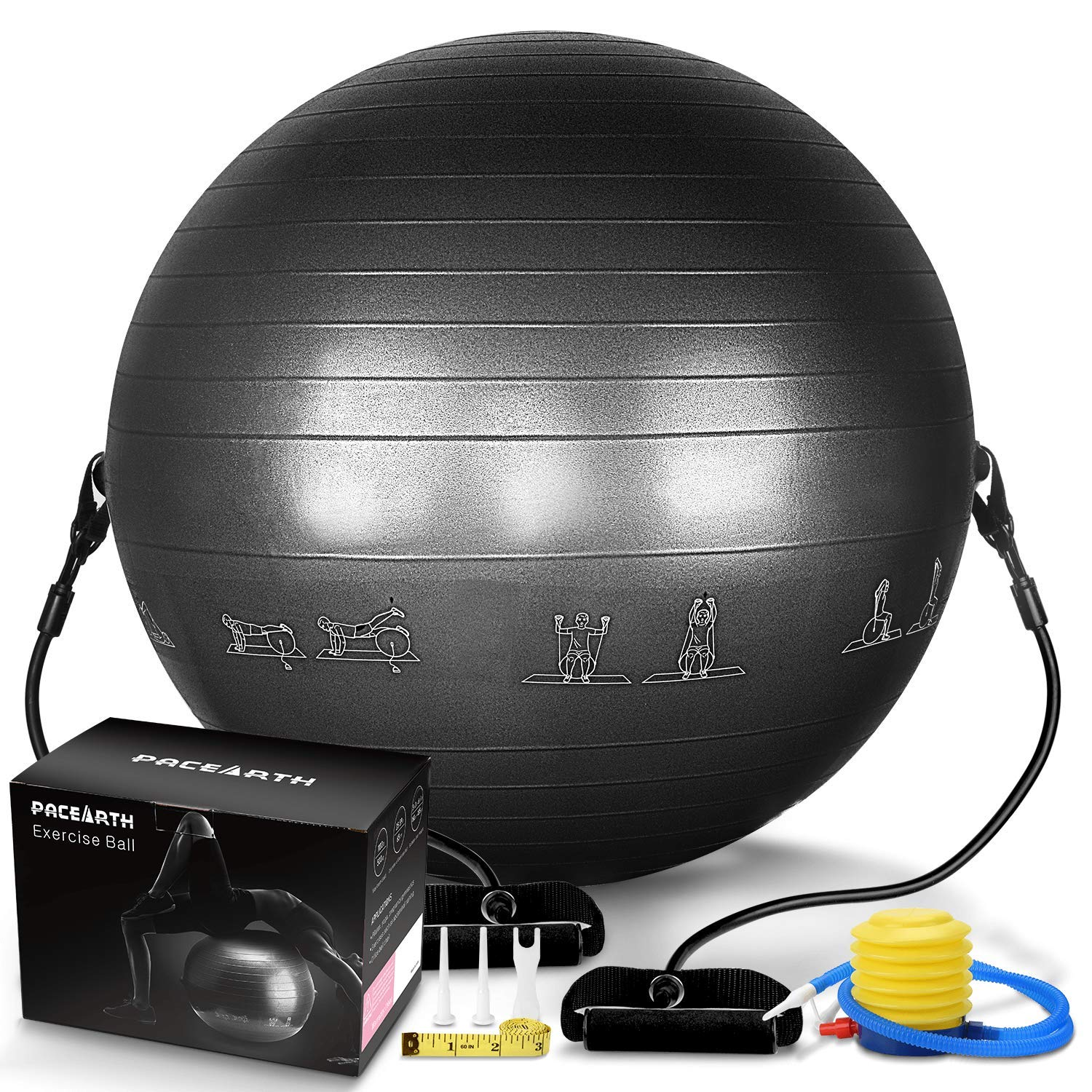 PACEARTH Exercise Ball for Yoga Stability Fitness Balance Birthing Workout Ball Chair with Quick Pump and Resistance Bands for Office,Home,Gym