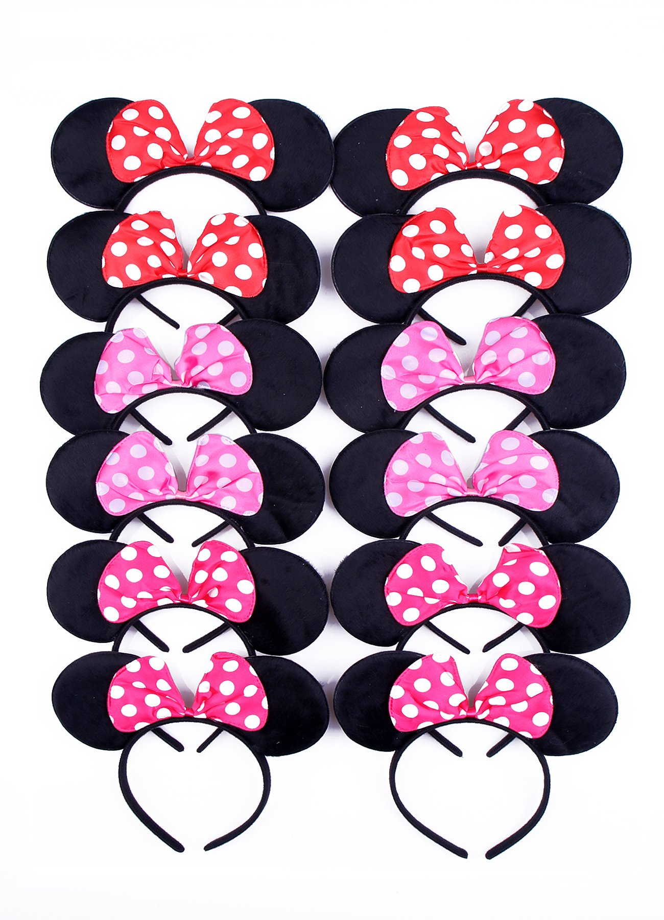 RufnTop Mickey and Minnie Mouse Polka Pink Bow Ears Headband(Pink Mix Set of 12)