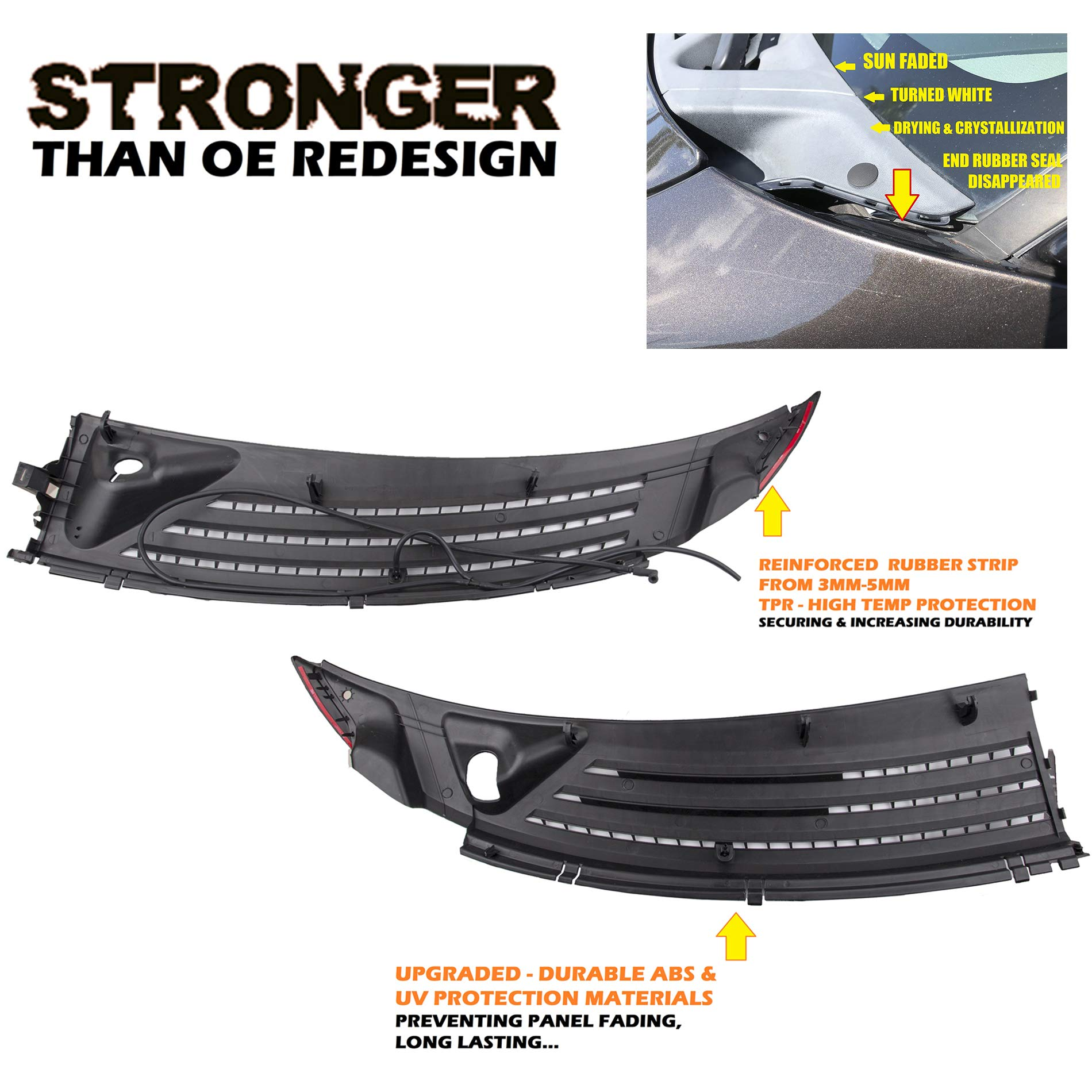 UPGRADE Outer Exterior Windshield Window Wiper Cowl Cover Panel Set of 2pcs For 04-08 Ford F-150 06-07 Lincoln Mark LT Left and Right 2004 2005 2006 2007 2008
