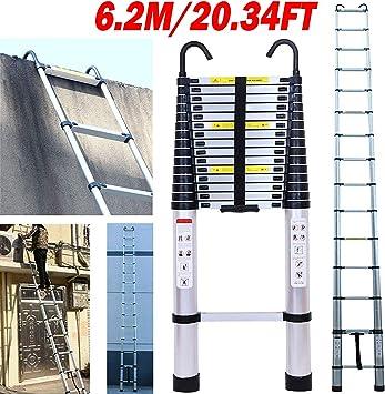 Escalera telescópica de 15 peldaños de aluminio con gancho desmontable, diseño de seguridad, escalera plegable portátil, capacidad máxima 150 kg, 6.2 m: Amazon.es: Bricolaje y herramientas