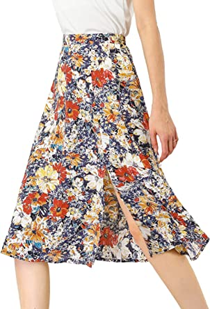 Allegra K Womens Floral Elastic High Waist Aline Summer Midi Skirt with Slit