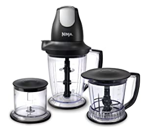 Ninja Blender/Food Processor with 450-Watt Base, 48oz Pitcher, 16oz Chopper Bowl, and 40oz Processor Bowl for Shakes, Smoothies, and Meal Prep (QB1004) (Renewed)