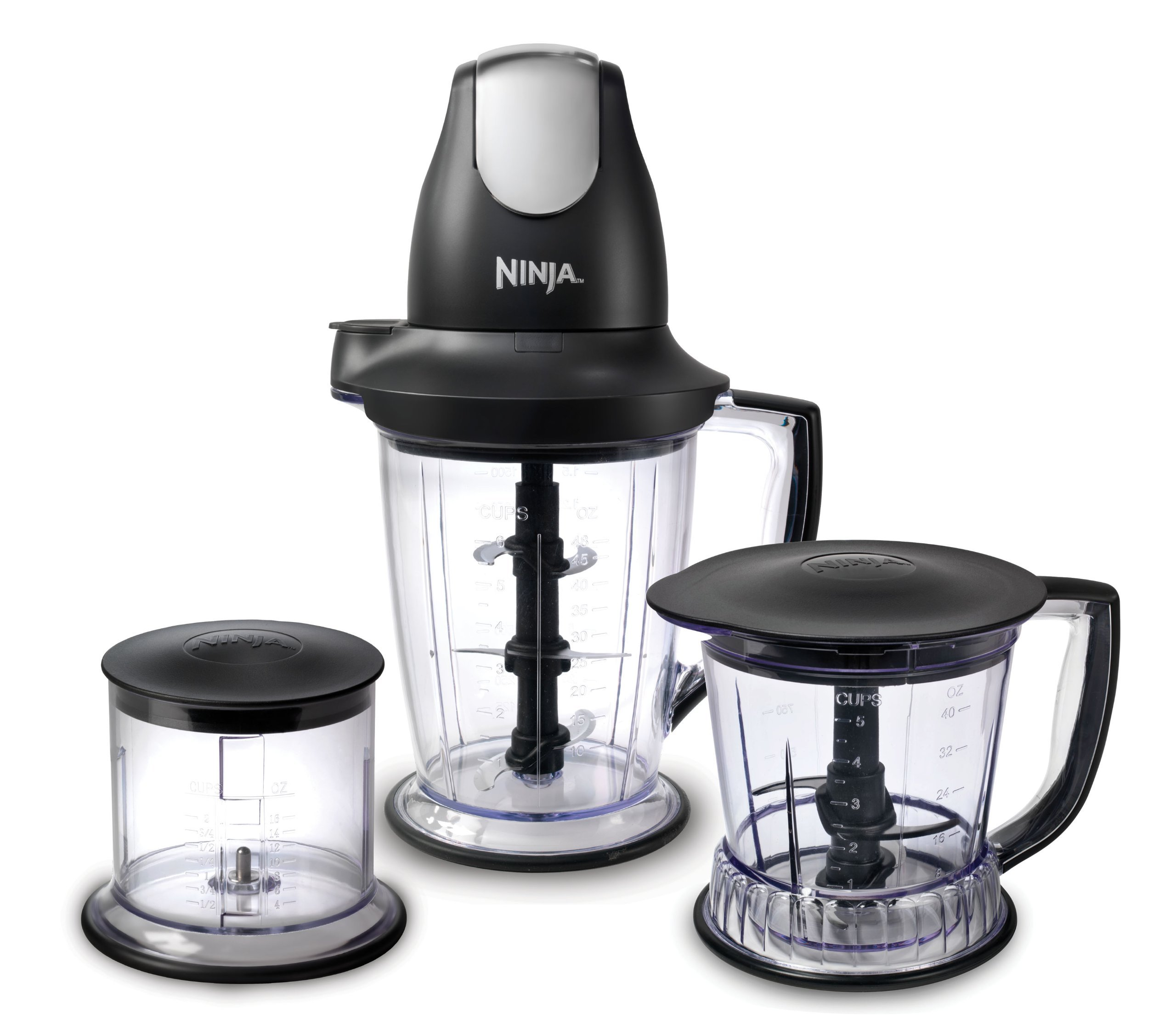 Ninja Blender/Food Processor with 450-Watt Base, 48oz Pitcher, 16oz Chopper Bowl, and 40oz Processor Bowl for Shakes, Smoothies, and Meal Prep (QB1004) (Certified Refurbished)