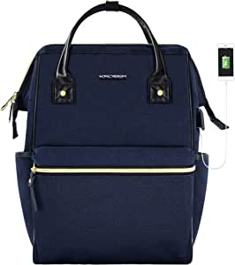 KROSER Laptop Backpack Stylish College Computer Backpack Fits Up to 15.6 Inch Laptop Water-Repellent Doctor Bag Casual Daypack with USB Port Travel Business School Bag for Men/Women-Dark Blue