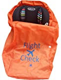 Alnoor USA Car Seat Travel Bag and Carrier for Gate Check with Travel Pouch - Bright Orange with Blue Letters for Airport, Airplane Gate Check, Car Trips, Carseat Travel Bag for Travel & Storage