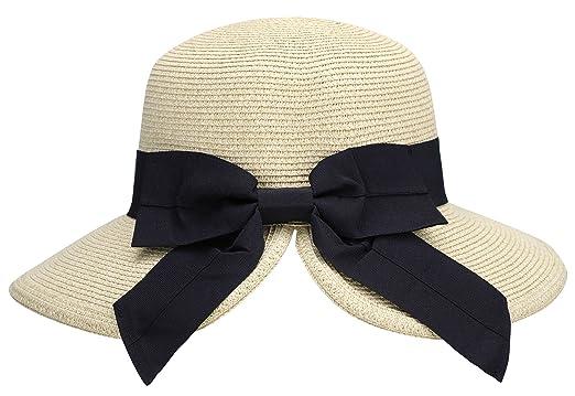 39852b6f AbbyLexi Women's Pretty Vintage Foldable Sun Visor Straw Hat w/Bow, Mix  Beige