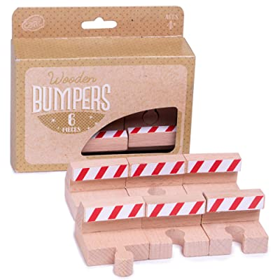 Wooden Train Track Bumpers (6 Pieces) | Create Stops in Railways for Construction, End of Tracks, Or Other Emergencies | Encourages Creative and Imaginative Play with Trainsets: Toys & Games