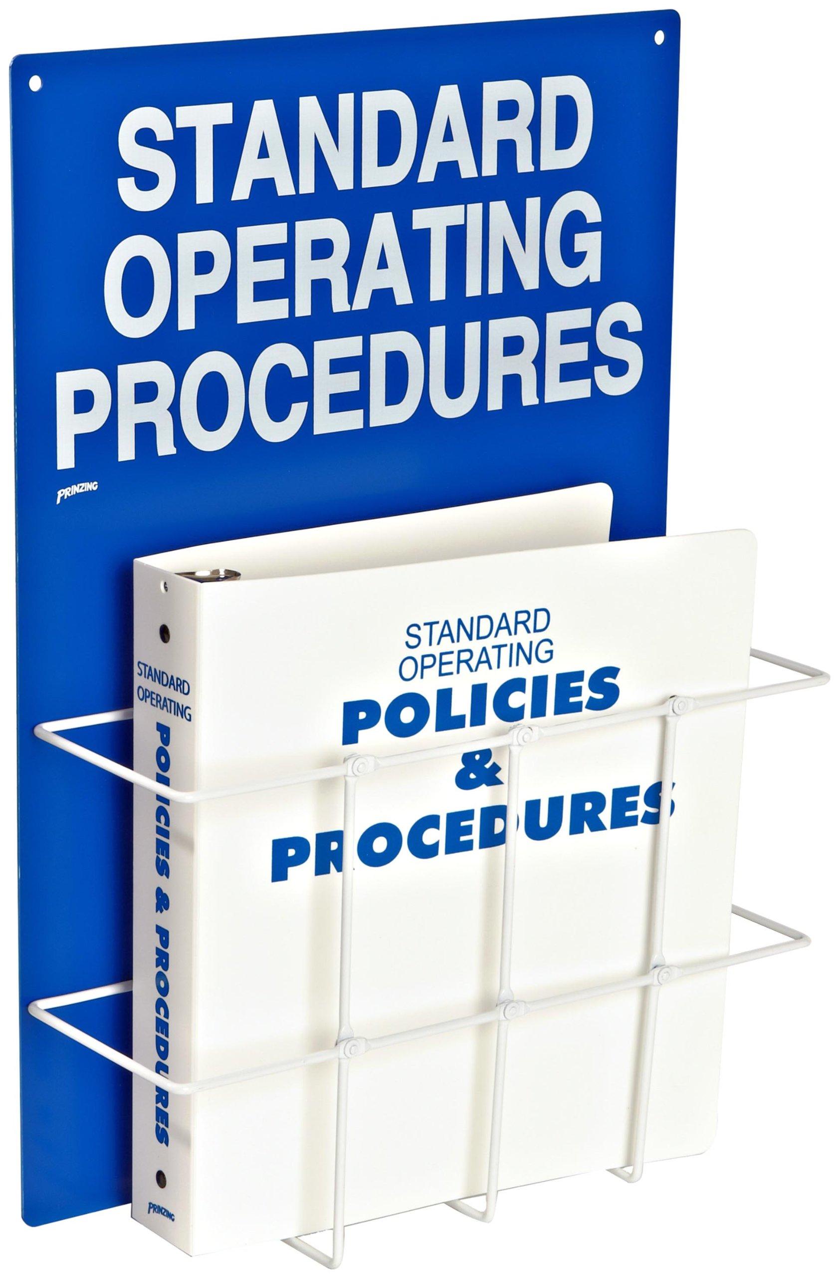 Brady SM681A Heavy-Duty Poly, White On Blue Color Standard Operation Procedures Center, Legend ''Standard Operating Procedures''
